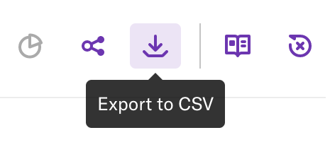 The export to CSV button, which is a downward arrow pointing to a horizontal line