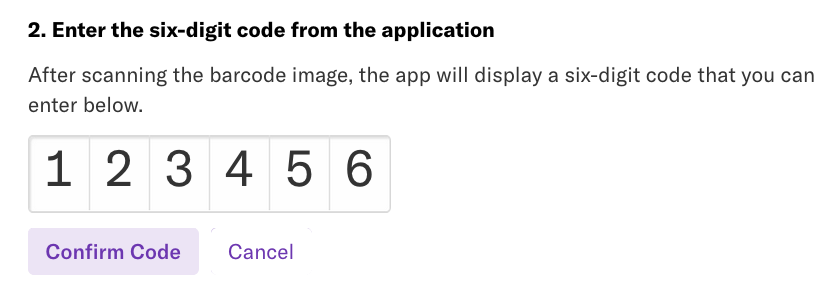 The prompt 'Enter the six-digit code from the application' with a field to enter the code