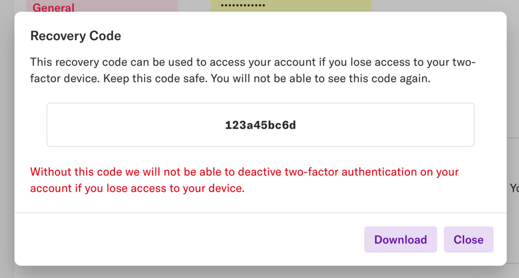 The 'recovery code' pop-up with the recovery code displayed