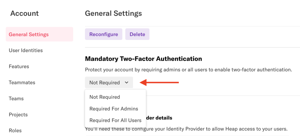 The General Settings page in Heap with an arrow pointed at the Required/Not Required drop-down