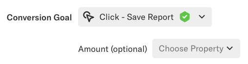 An influence query where the Conversion Goal is set to 'Click - Save Report'