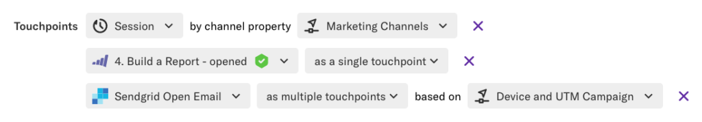 A influence query where the touchpoints are set to Session by channel property Marketing Channels