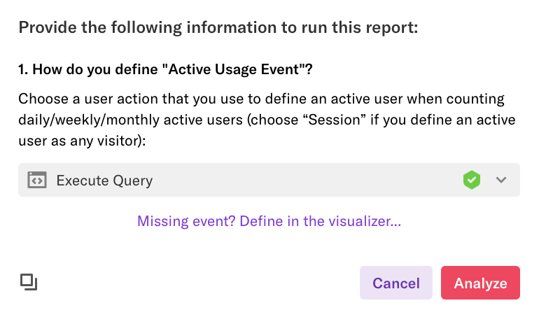 "The ""Active Usage Event"" section of the suggested report 'What is the actual makeup of my active user base?'"