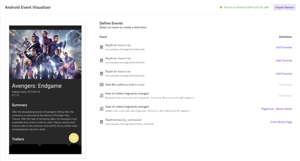 The Android Event Visualizer page with the screen on the left and a list of events on the right