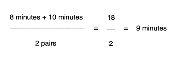 A mathematical equation of 8 + 10 minutes divided by 2 pairs equals 9 minutes