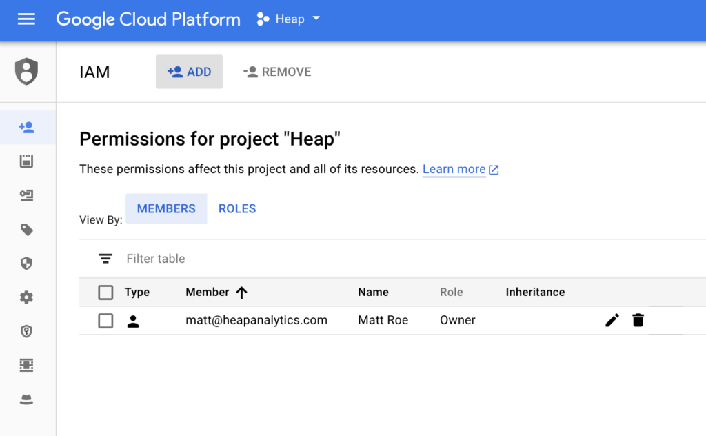 The IAM & admin settings page in Google Cloud Platform