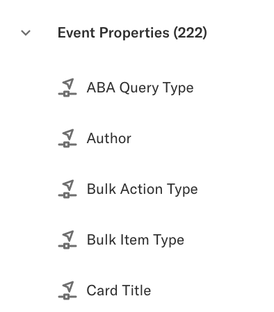 The event properties category on the properties page