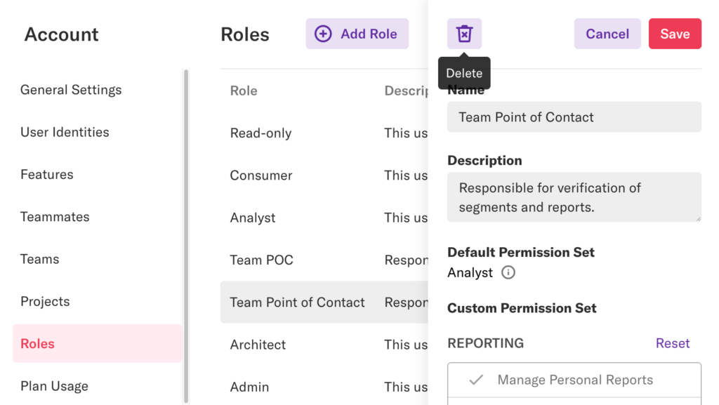 The Roles page with the Read-only role details pane open and a mouse hovering over the 'Delete' button