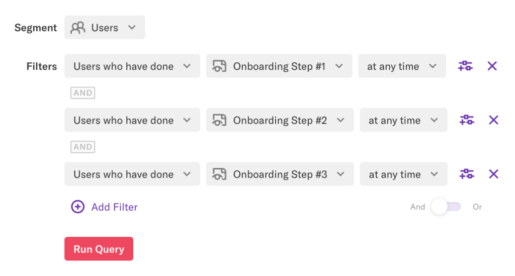 A segment 'Users' defined as filtered by Users who have done onboarding steps 1, 2, or 3 at any time