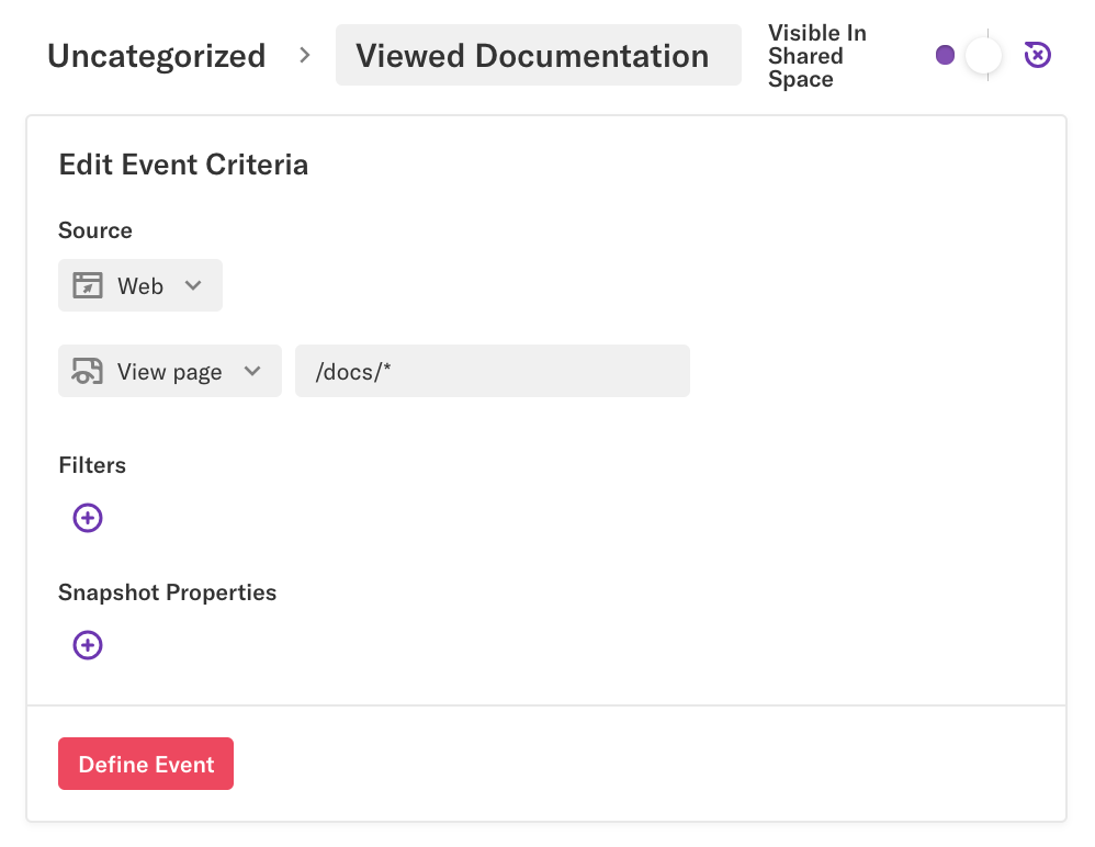 Viewed documentation event where view page = /docs/*