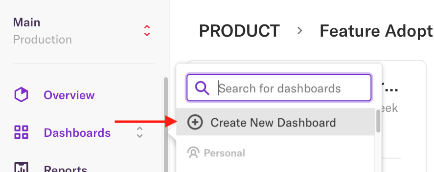 The create new dashboard button where it appears on the dashboards page