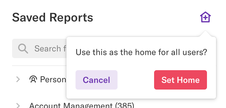 The Use this as the home for all users? Confirmation pop-up that appears after you click the set as home for all users button