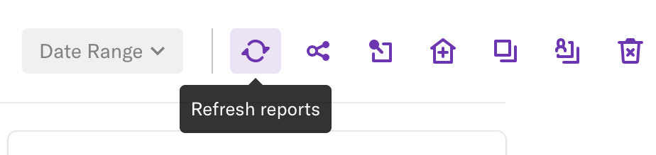The refresh reports button where it appears on the dashboard page
