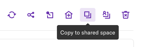 The copy to shared space button where it appears on the report page