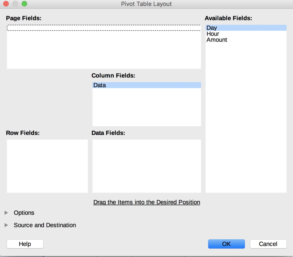 The Pivot Table Layout option with the Column Fields set to Data