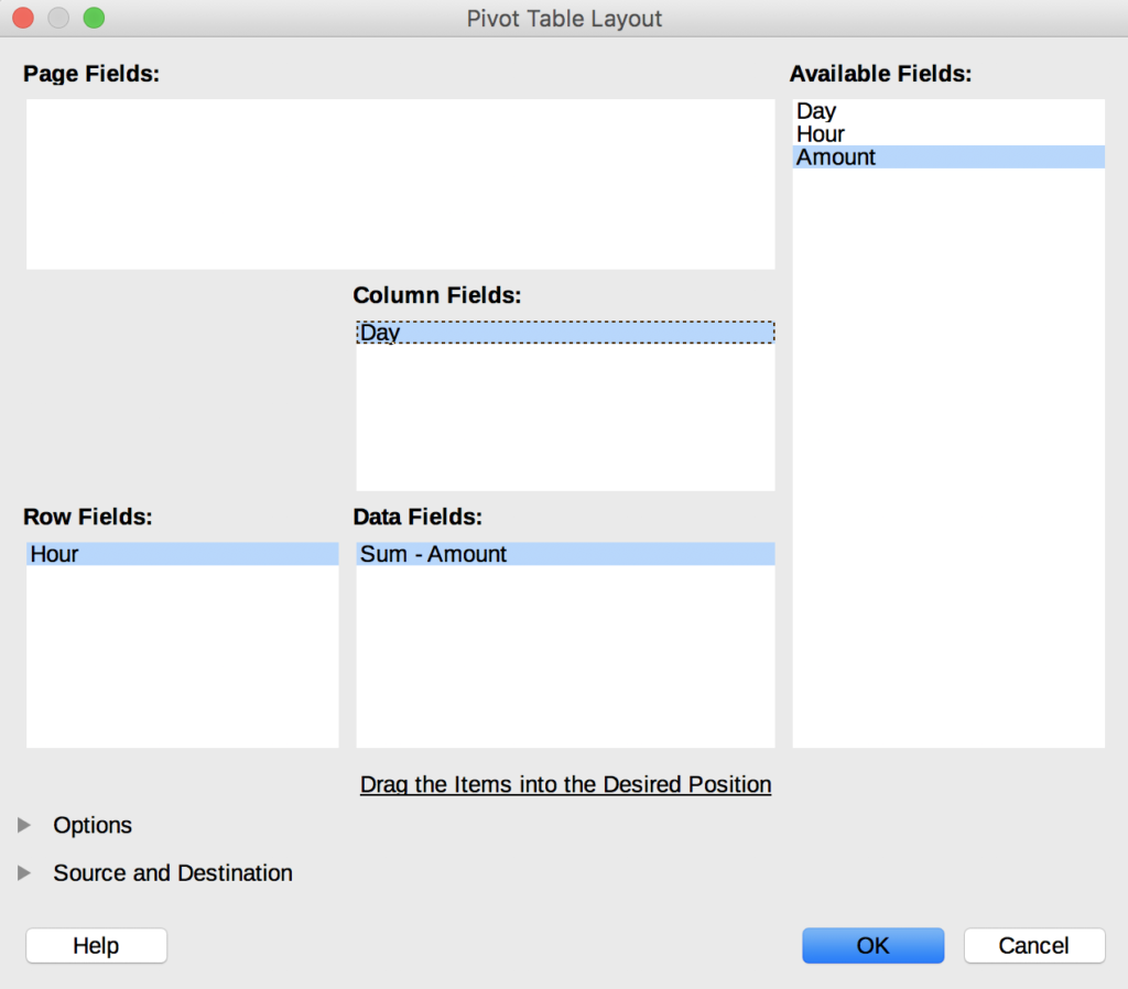 The Pivot Table Layout option with the Column Fields set to Day and Row Fields to Hour and Data Fields to Sum - Amount