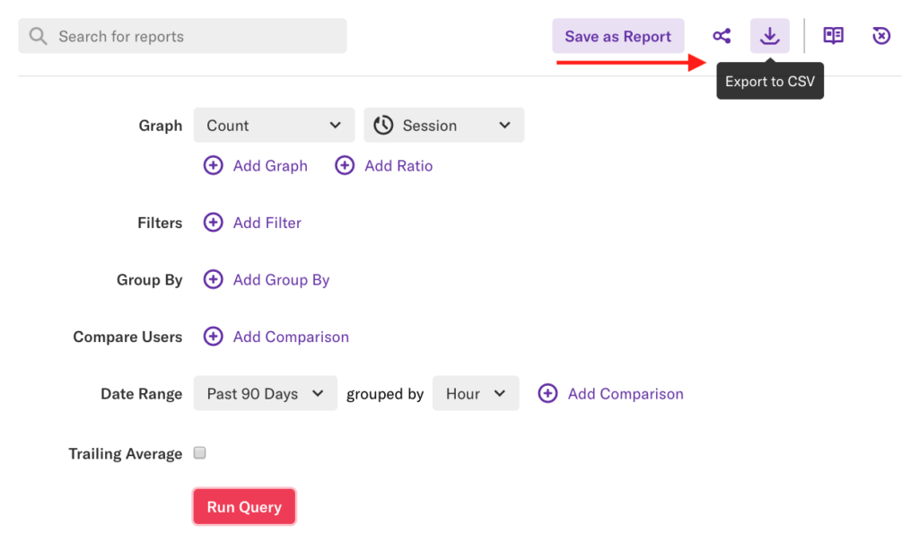 The graphs page with the previous graph set up and an arrow pointing to the 'Export to CSV' button