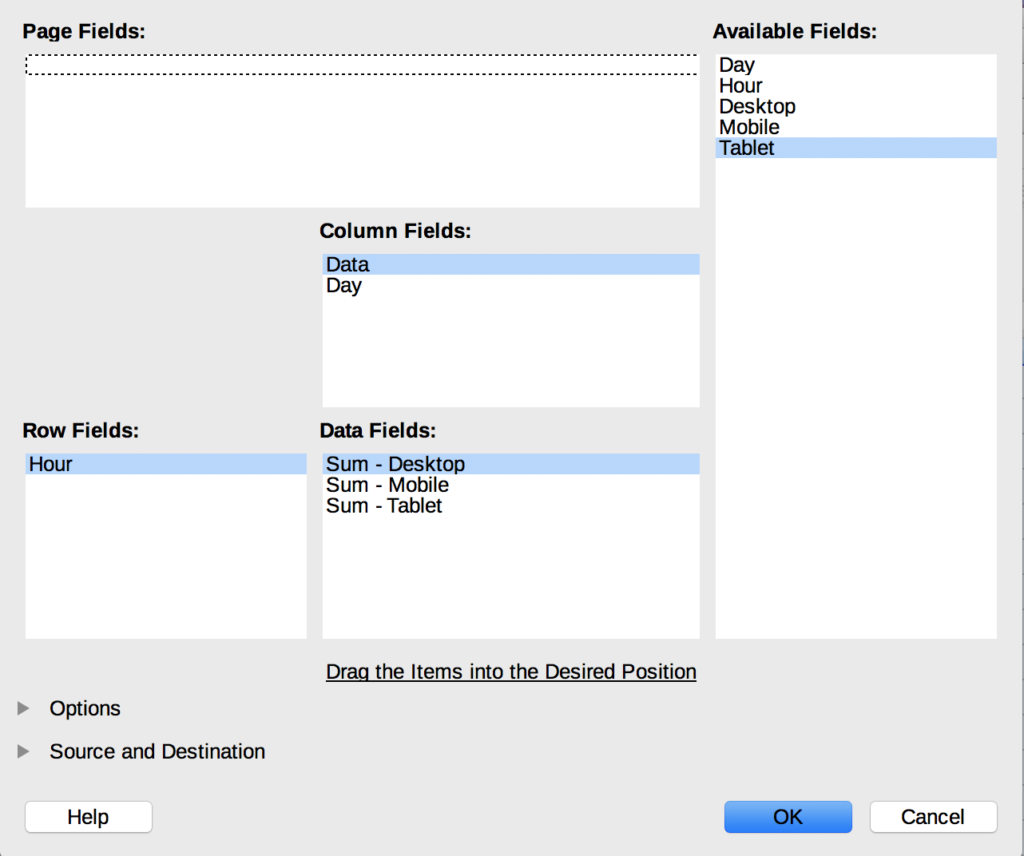 The Page Fields option with column fields set to Data, Row Fields set to Hour, and Data Fields set to Sum - Desktop
