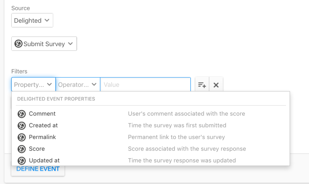 The event details page in Heap with a delighted 'Submit Survey' event selected