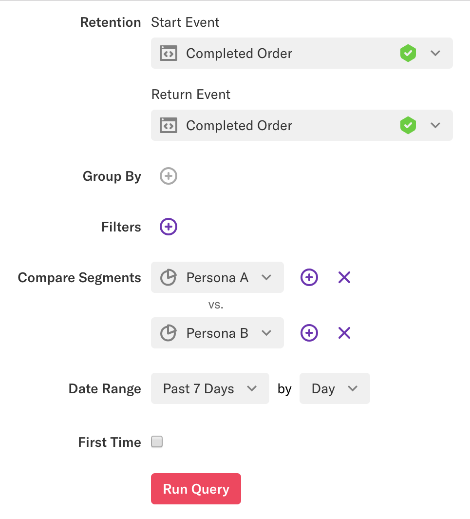 A retention query with Completed Order as the Start and Return events comparing segments Persona A vs. Persona B over past 7 days