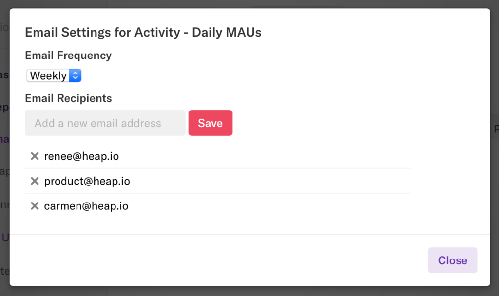 The Email Settings pop-up with the frequency set to 'weekly' and several email addresses selected
