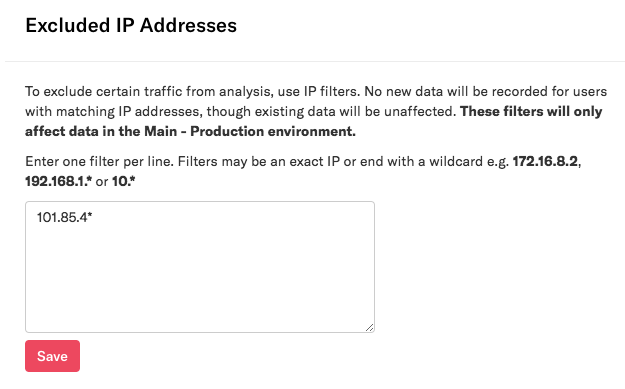 The Excluded IP addresses section as it appears on the Privacy & Security page in Heap