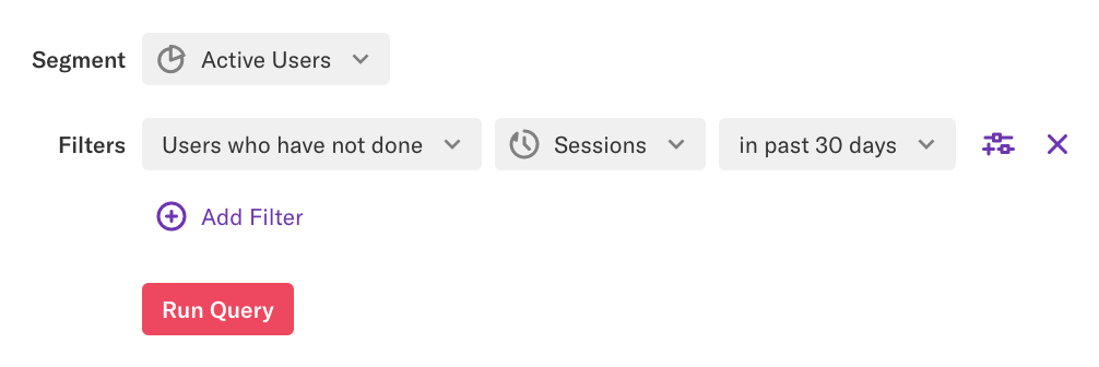 A segment 'Active Users' defined as users who have not done Sessions in past 30 days