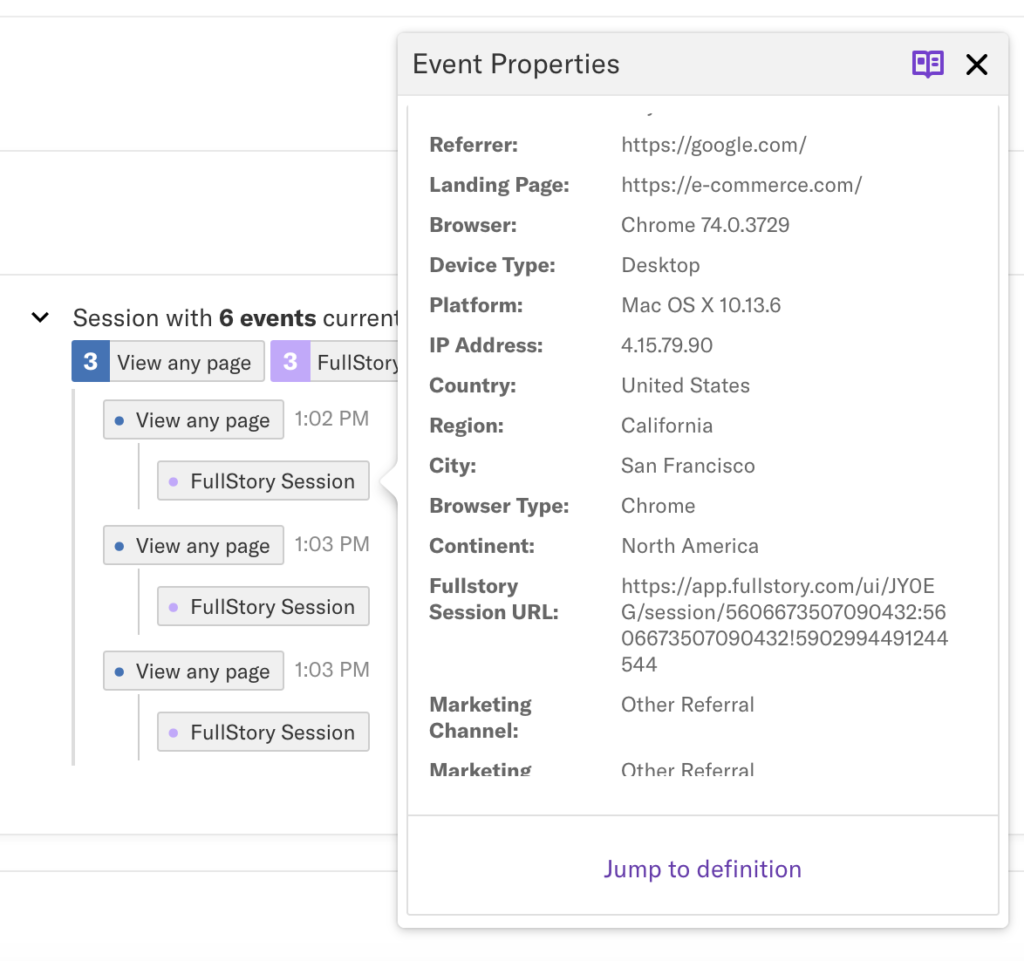 The Users view in Heap with an event property highlighted