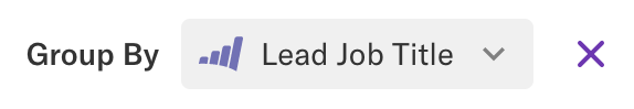 A group by 'Lead Job title' property