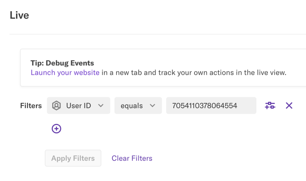 The Live view page with a filter of User ID = a string of numbers applied