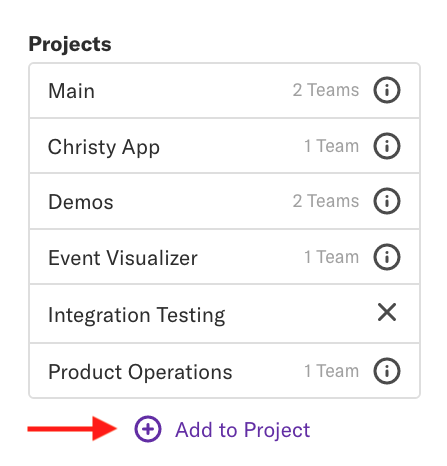 The projects list with an arrow pointed towards the 'Add to Project' button