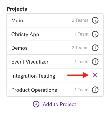 The projects list with an arrow pointed towards the X to the right of the 'Integration Testing' project