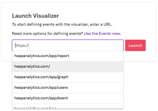 The Event Visualizer with the URL heapanalytics.com selected