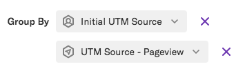 Two group bys of initial UTM source and UTM source - pageview