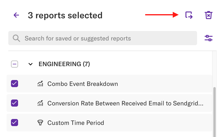 The more button where it appears on the report page