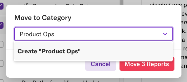 The move to category pop-up with the name Product Ops in the category name field