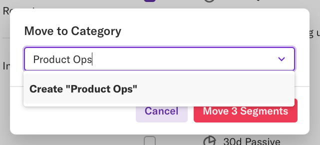 The 'move to category' pop-up with the Product Ops category selected