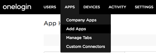 The Add Apps option in the Apps drop-down of OneLogin