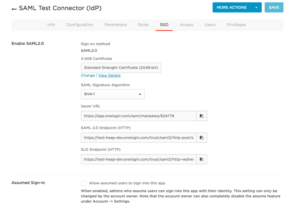 The SSO tab of the SAML Test Connector (IdP) page