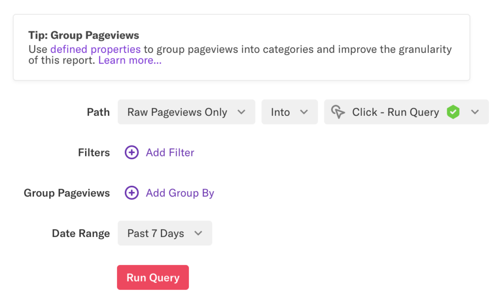 A Paths report 'Raw Pageviews Only Into Click - Run Query' for past 7 days with no filters or group bys applied