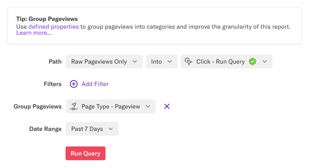 A paths analysis for 'Raw Pageviews Only into Click - Run Query' grouped by 'Page Type - Pageview' for past 7 days