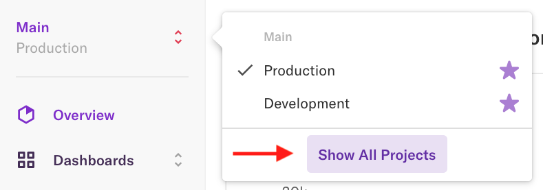 The Projects list with an arrow pointing to the 'Show all Projects' button