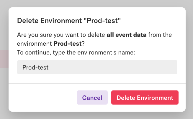 "The 'Delete Environment ""Prod-test""' pop-up"