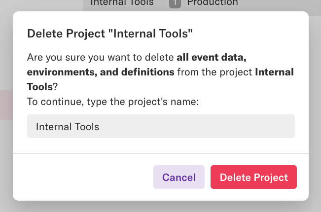 "The 'Delete Project ""Internal Tools""' pop-up which requests confirmation before deleting a project"