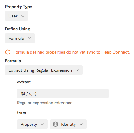 A formula property set to 'Extract using regular expression' with the regex formula added from 'Property = identity'