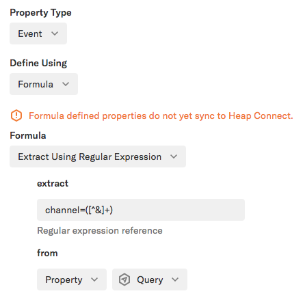 A formula property set to 'Extract using regular expression' with the regex formula added from 'Property = Query'
