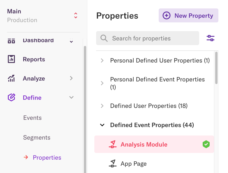 The properties list on the properties page with the 'Analysis Module' property selected