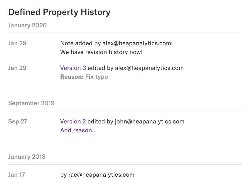 The details page of the 'Analysis Module' property with the property history displayed