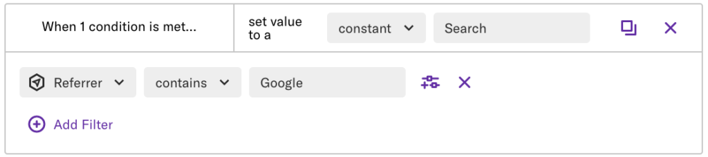 The conditional field with 'set value to a constant = search' set
