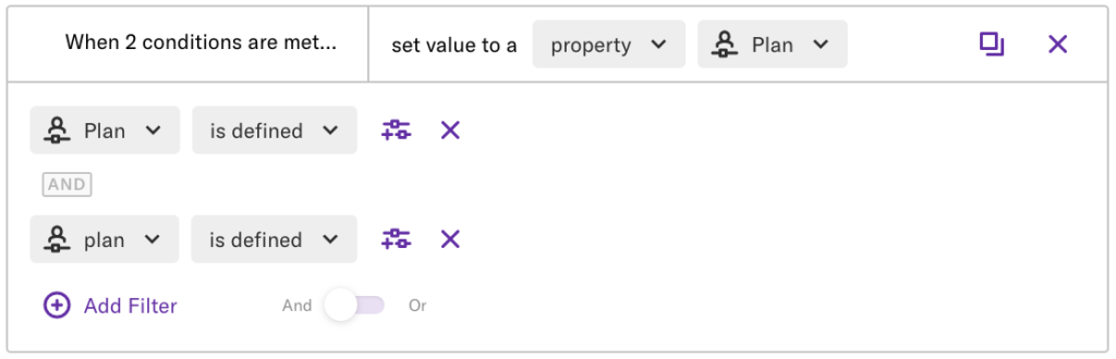 The conditional field with 'set value to a property = plan' set, where 'Plan' and 'plan' are defined